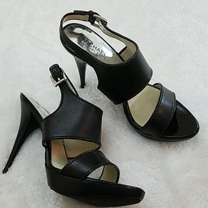Michael Kors Sz 9.5 Blk Leather Platform Heels